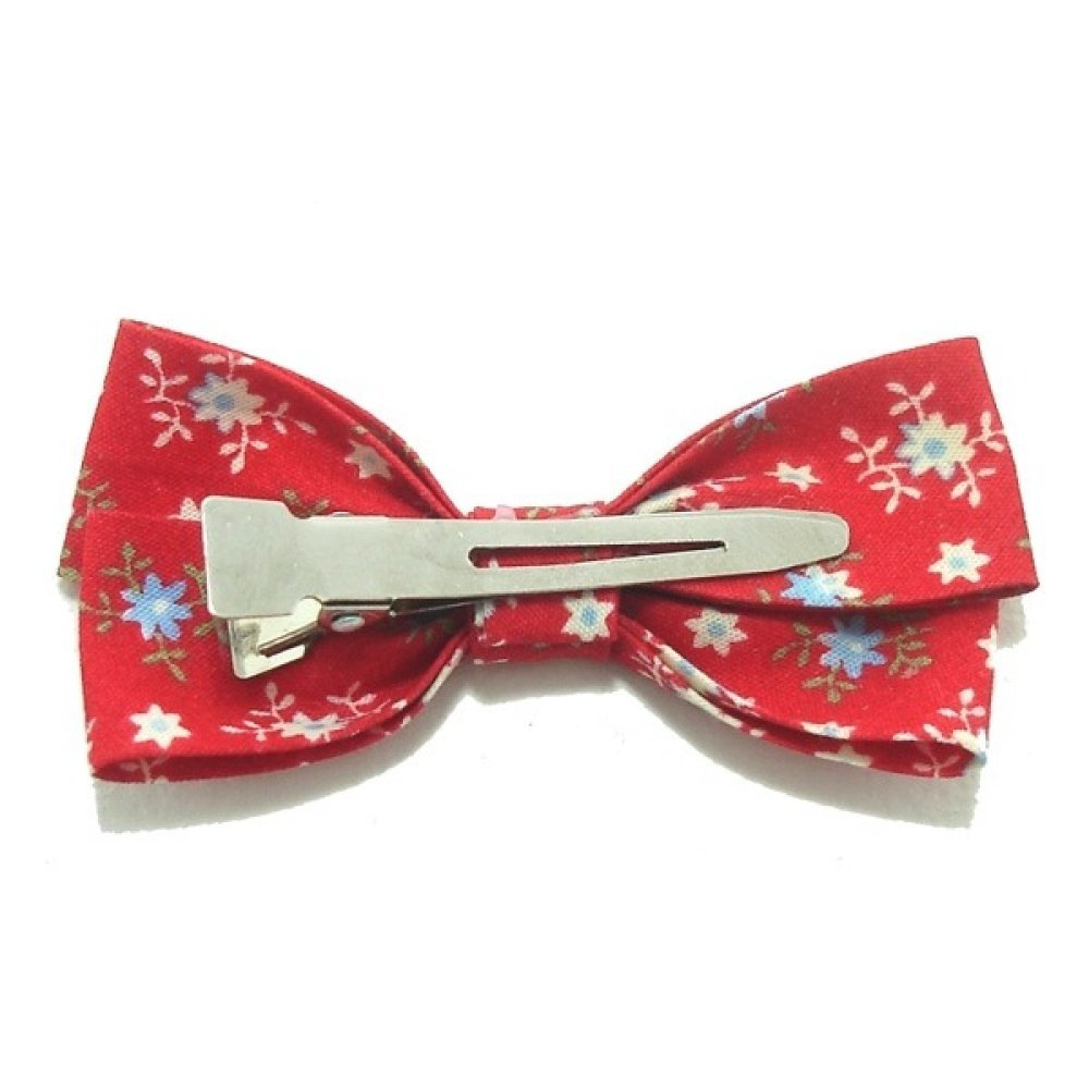 Barrette Noeud, Ruban Coton, Liberty, Rouge.