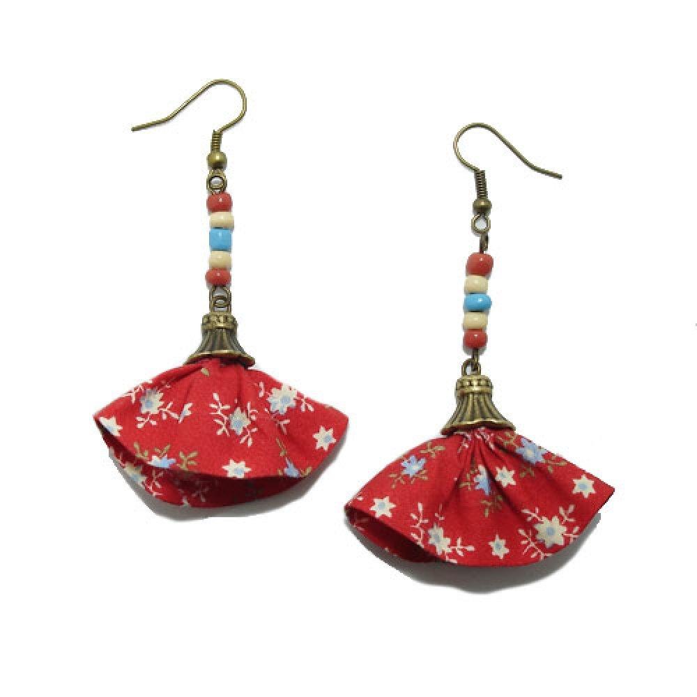 Boucles d'Oreille Jupette, Liberty, Rouge, Perles de Rocaille.