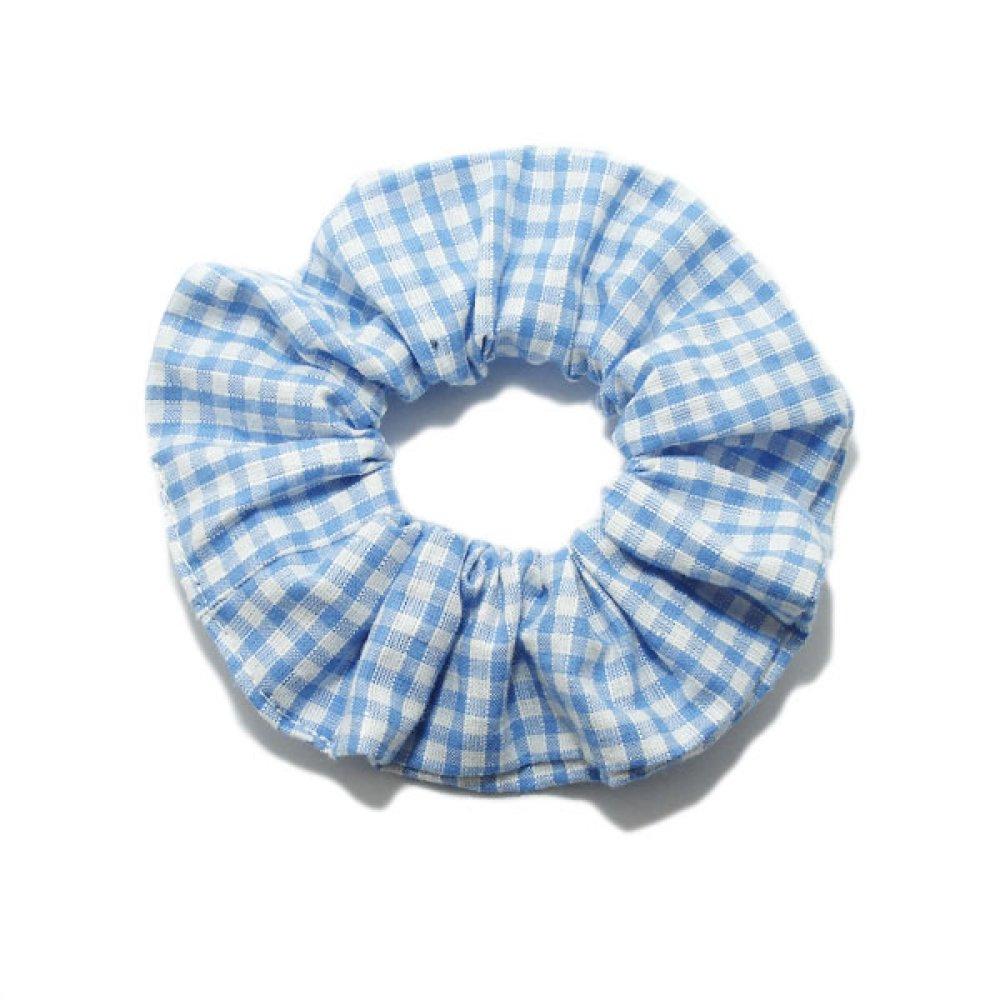 Chouchou Cheveux, Tissu Coton, Vichy, Bleu Clair.
