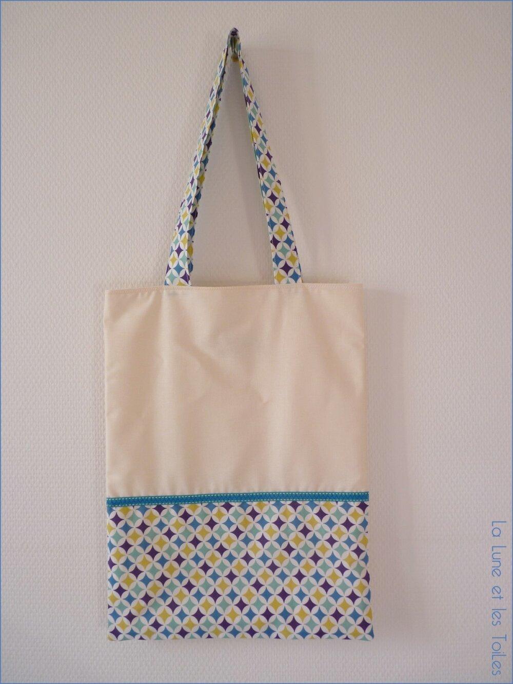 Sac tote bag personnalisé écru et bleu, moutarde, violet