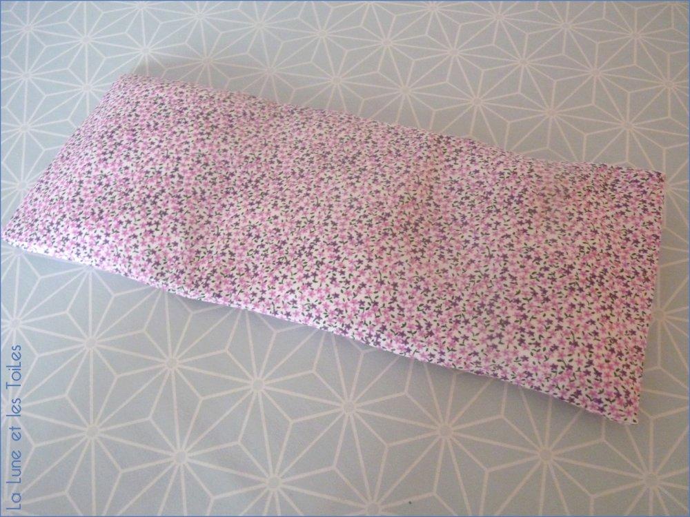 Grand bouillotte sèche déhoussable en coton fleuri mauve