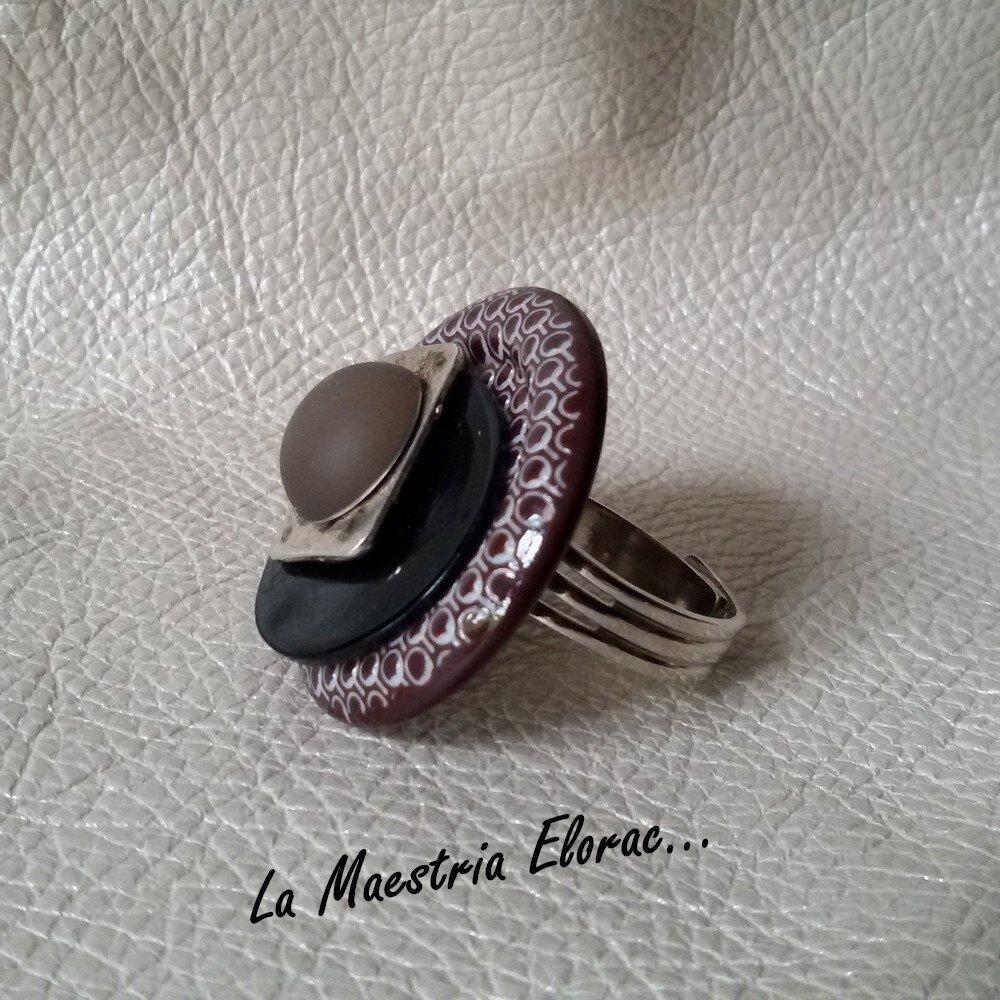 Bague boutons artisanale - Bague fantaisie vintage métal