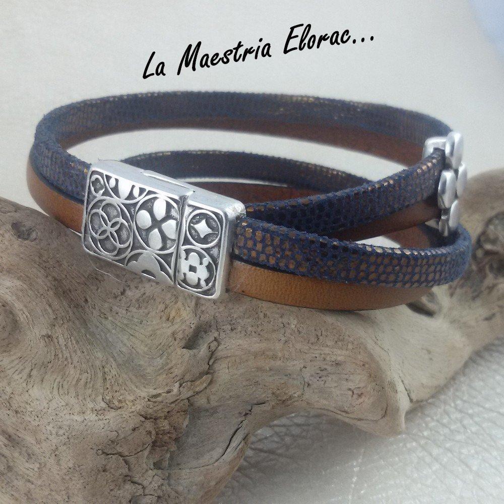 Bracelet en cuir double tour - Manchette en cuir véritable - Bracelet fantaisie