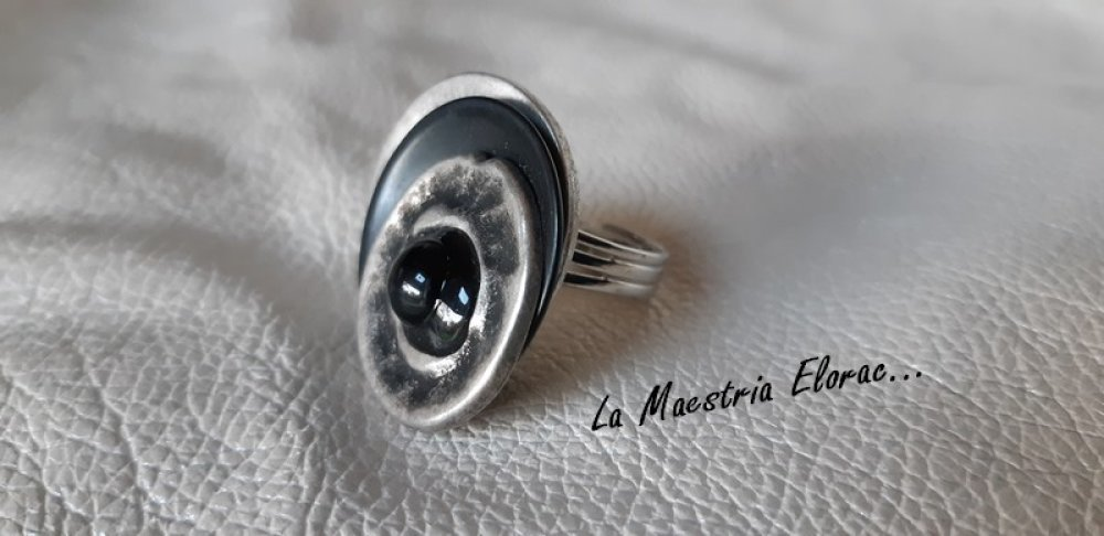 Nouveauté * Bague bouton artisanale en métal, bague réglable ajustable