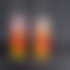 Boucles d'oreilles pendantes rectangulaire tâches de peinture en émail