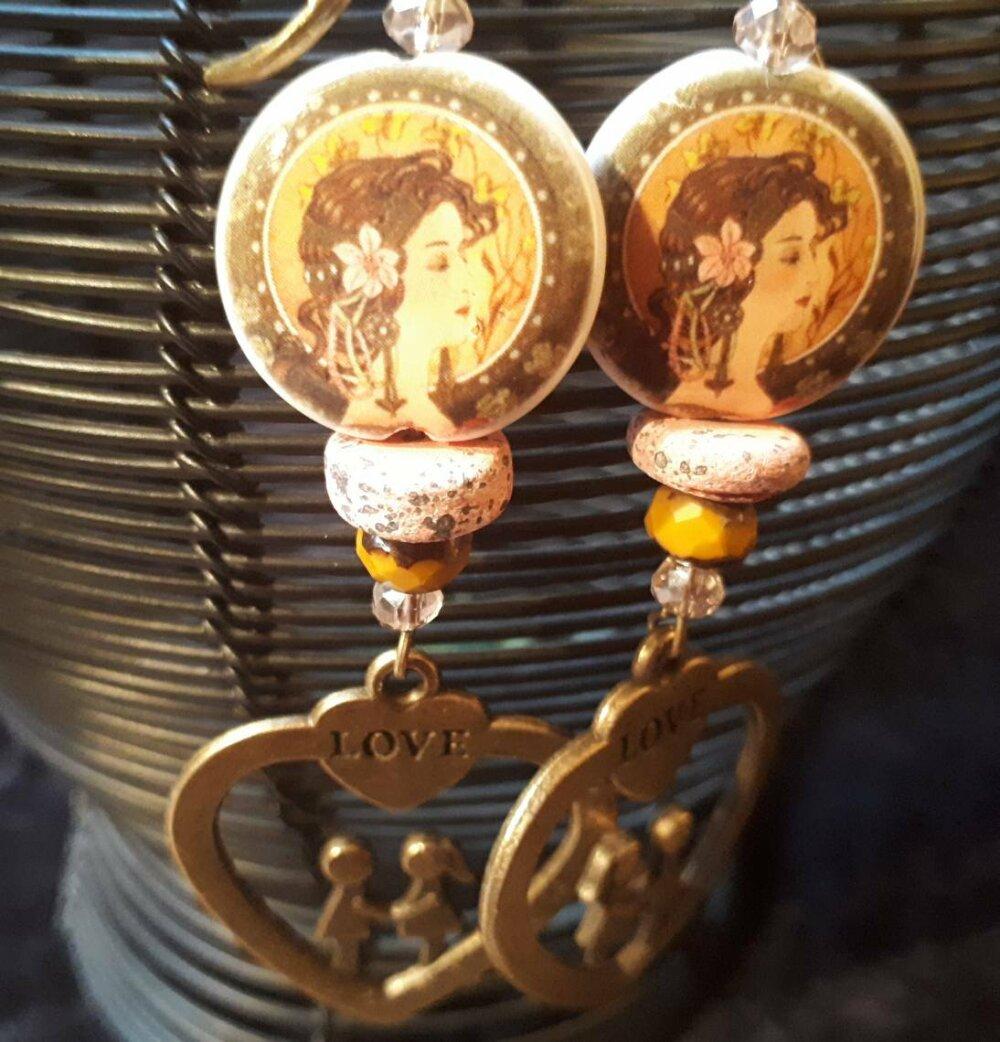 Boucles d'oreilles boho chic boucles boheme boucles amoureuses perle porcelaine artisanale