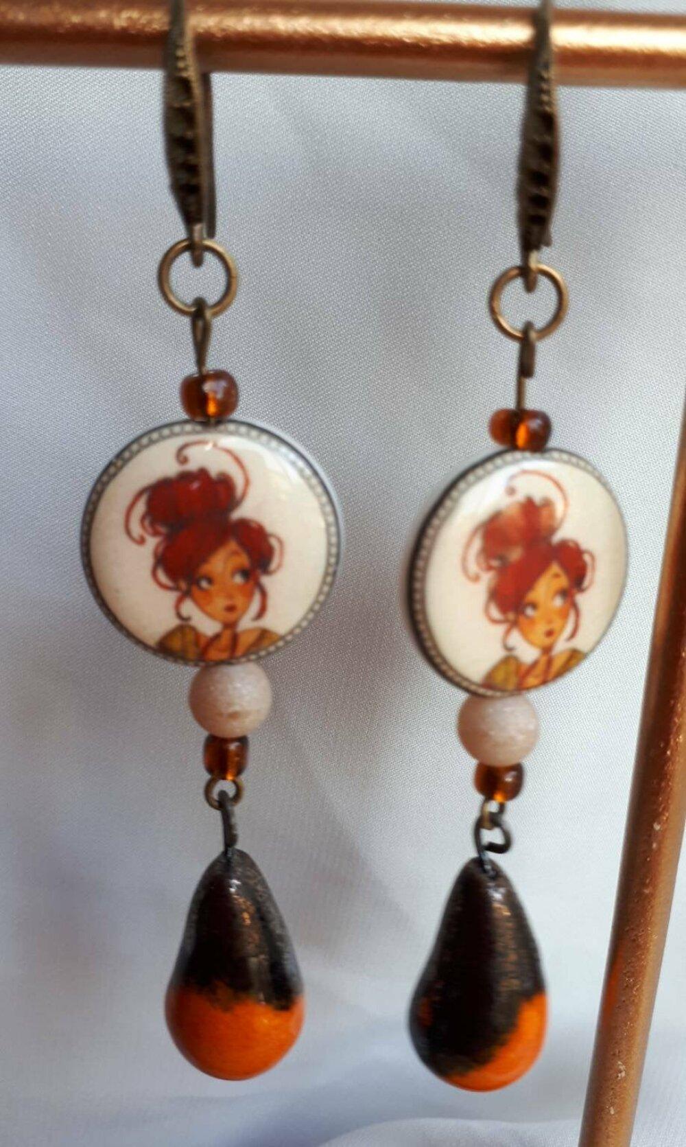 Boucles d'oreilles pendantes fantaisie perles porcelaine blanc orange breloque artisanale céramique orange noir