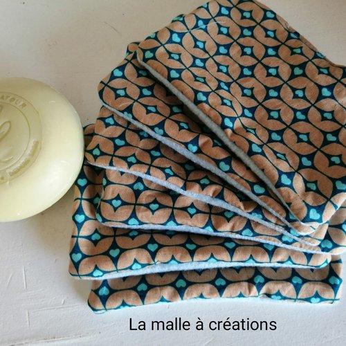 Lingettes démaquillantes lavables une face douce et une face coton bleue avec motifs lot de 6