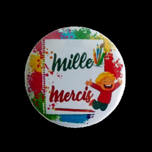 "Magnet + badge ""merci maîtresse"