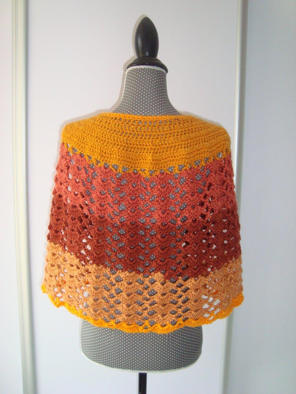 Cape Capeline Châle en laine douce jaune orange marron