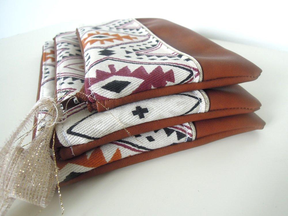 Pochette plate | trousse zippée | pochette main | rangement sac