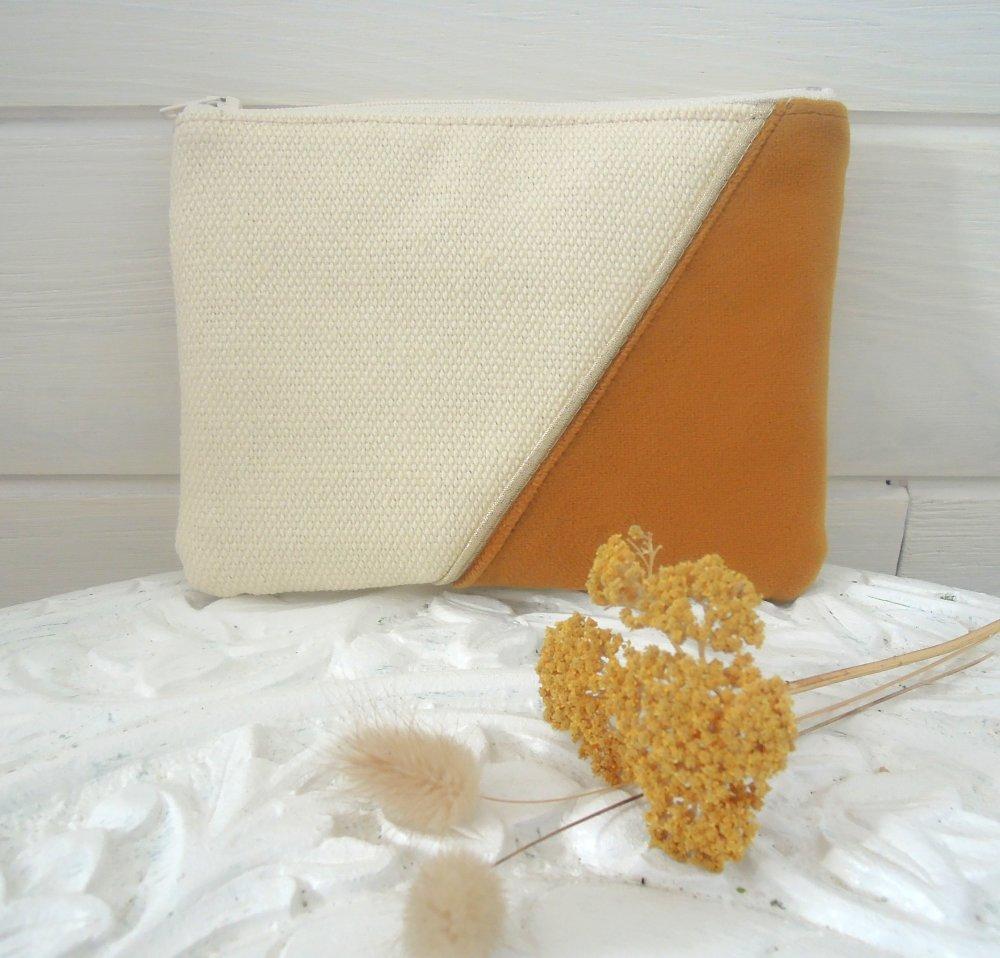Pochette plate | trousse zippée | pochette main | rangement sac | coton épais | velours ras | BRONZE