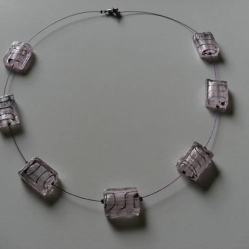 Collier perles de murano roses