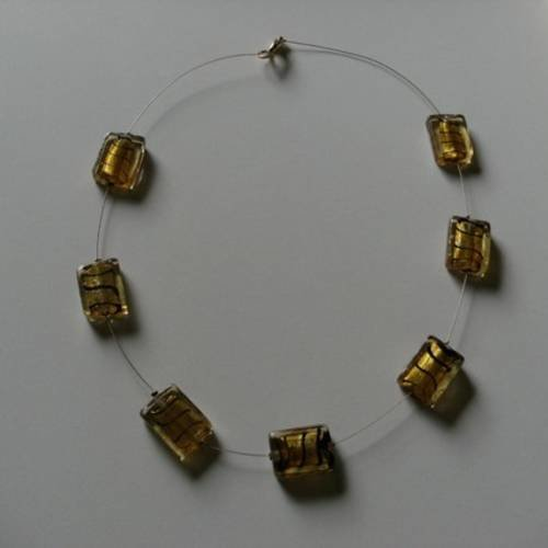 Collier perles de murano dorées