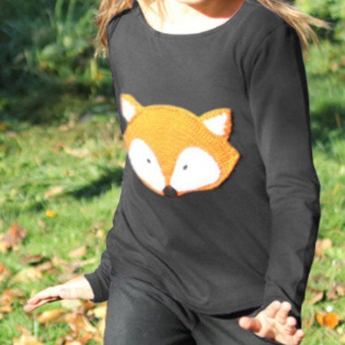 T-shirt motif renard au crochet, noir et orange