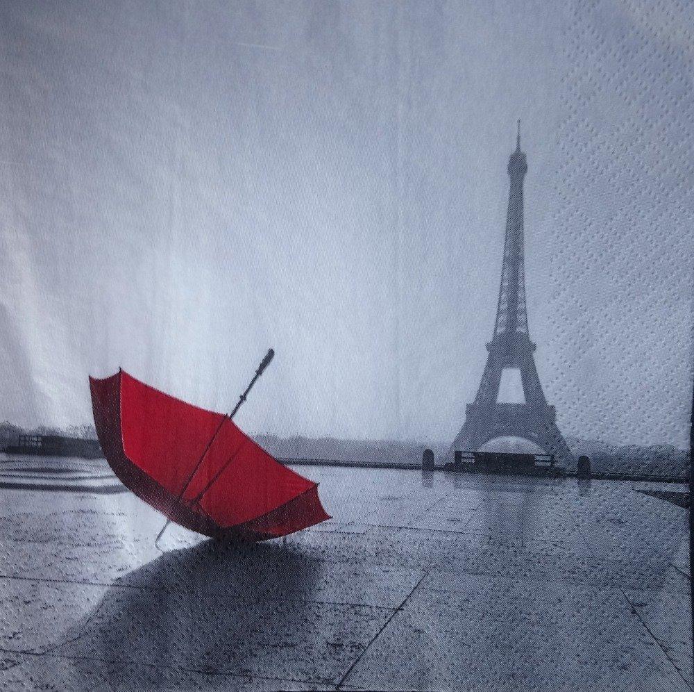 Serviette Paris et son parapluie