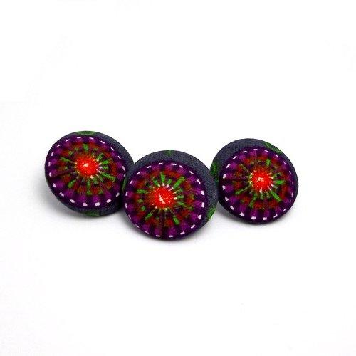 Boutons 26 mm x 3 tissu coton japonais géométrie multicolore