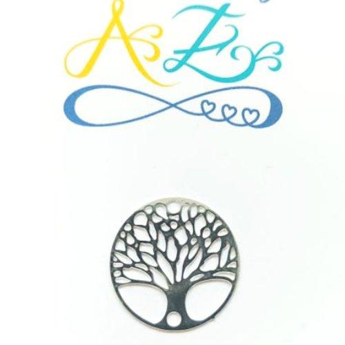 Estampe/connecteur ronde, arbre de vie, argentée ar6-3.