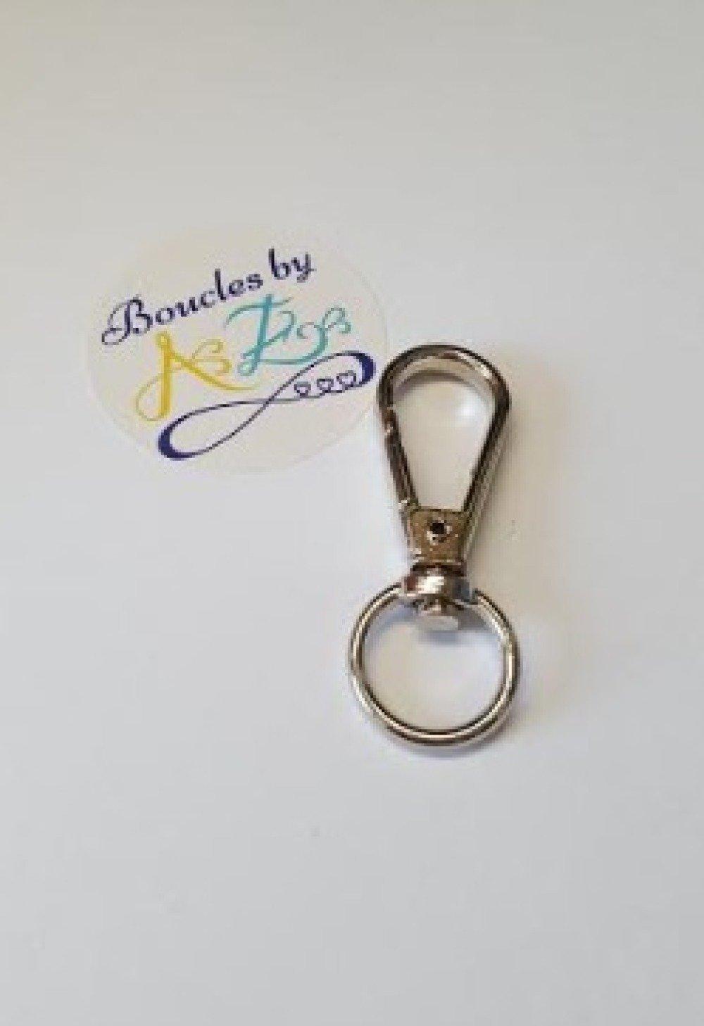 Porte-clé, mousqueton pivotant, argenté SPC-9