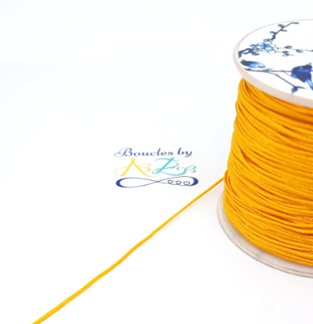 Fil nylon tressé jaune moutarde 1mm NYL-16