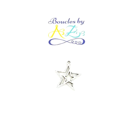 Breloque étoile argentée 23x21mm ar44-4.