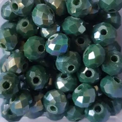 Perles à facettes vertes 6x4mm x30 pve6-1.