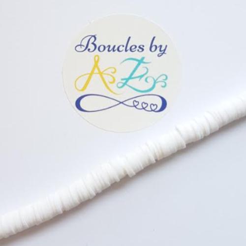 Perles heishi blanches 6mm pblc4-24.