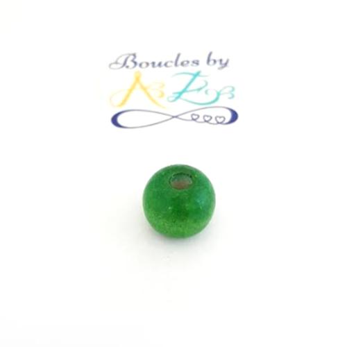 Perles rondes vertes en bois 14mm x10 pve5-7.