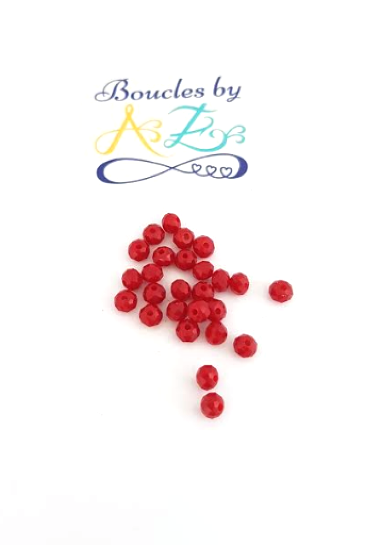 Perles à facettes rouges 4x3mm x50 PROU1-22.