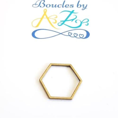 Anneau connecteur hexagone bronze 23x20mm br9-2.