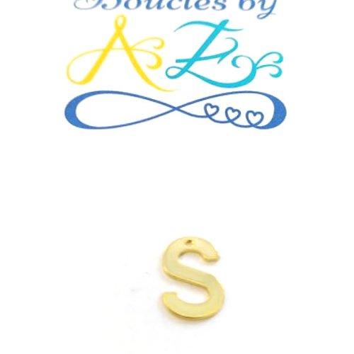 Pendentif lettre s en acier inox doré init2-s