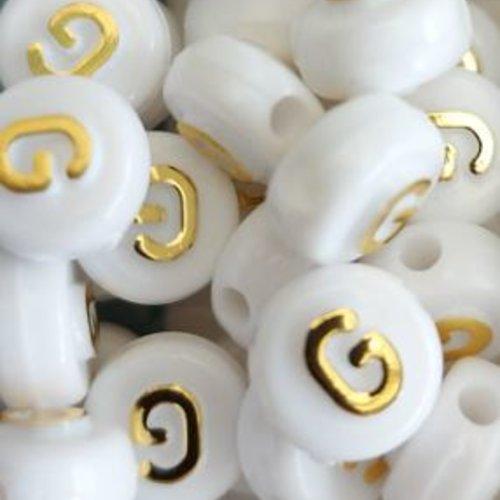 Perle lettre h doré/blanc 10mm pl1-g