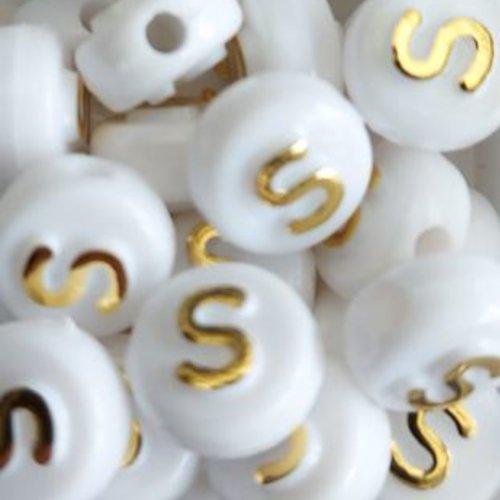 Perle lettre s doré/blanc 10mm pl1-s