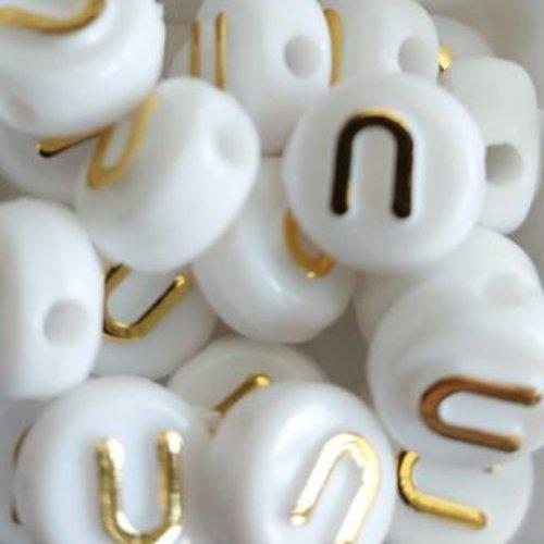 Perle lettre u doré/blanc 10mm pl1-u