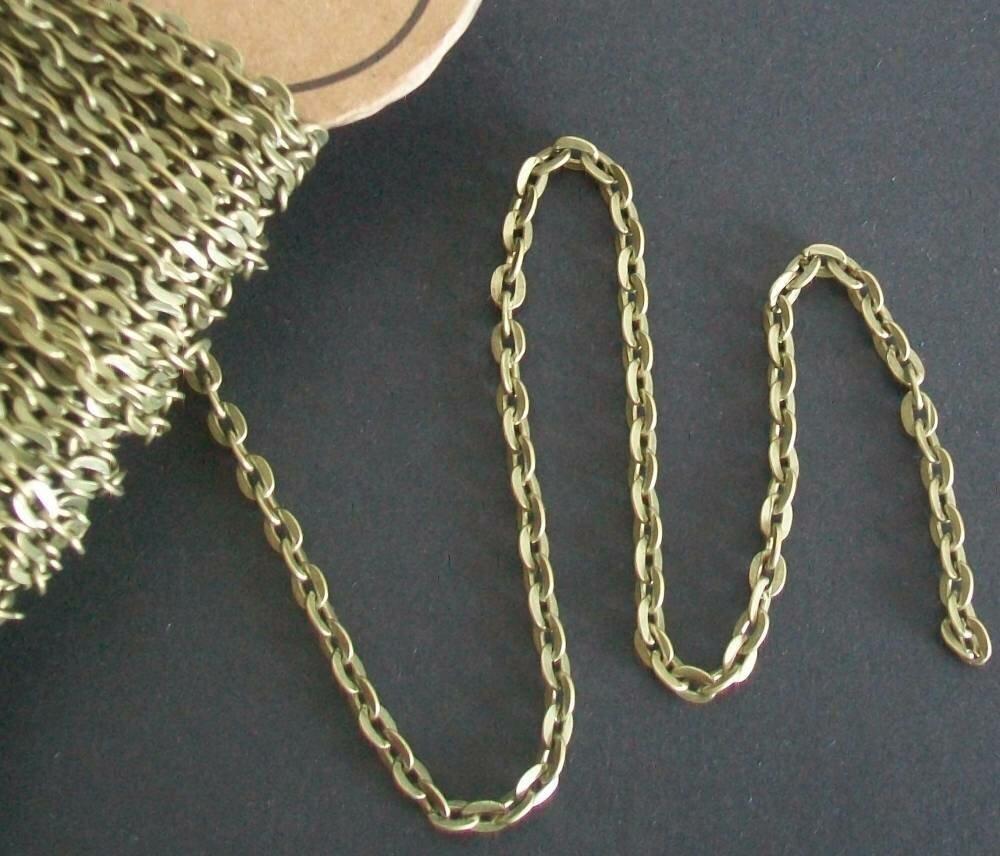 1 mètre de chaîne maille forçat bronze 4 x 3 mm ovale lisse.