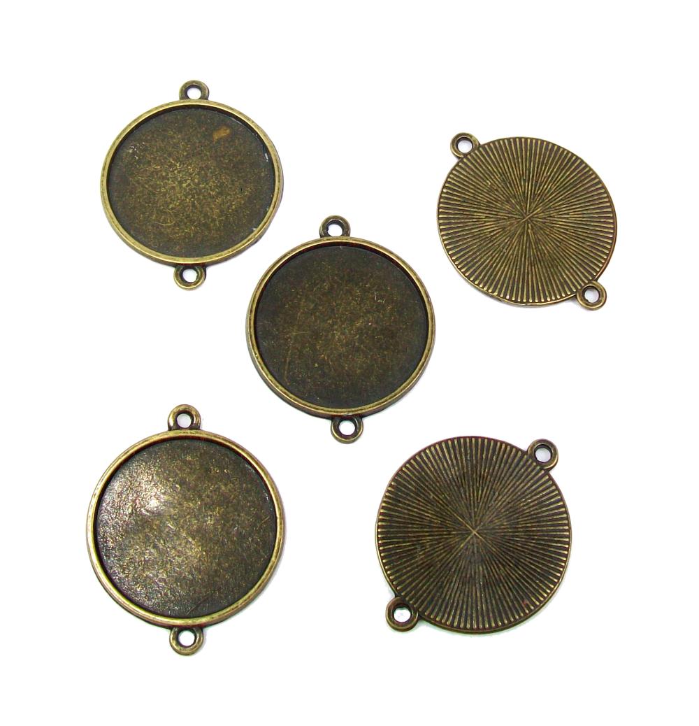 5 connecteurs supports cabochon plateau 25 mm couleur bronze.