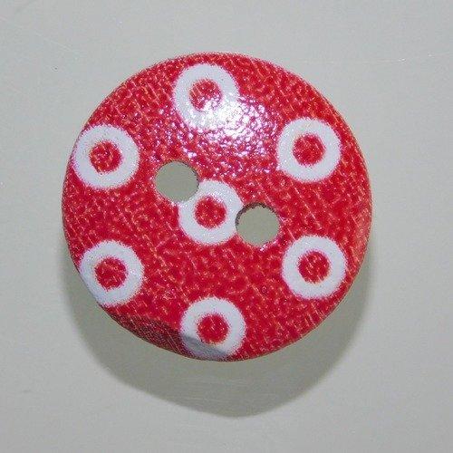 Bouton rond rouge et blanc 2 trous