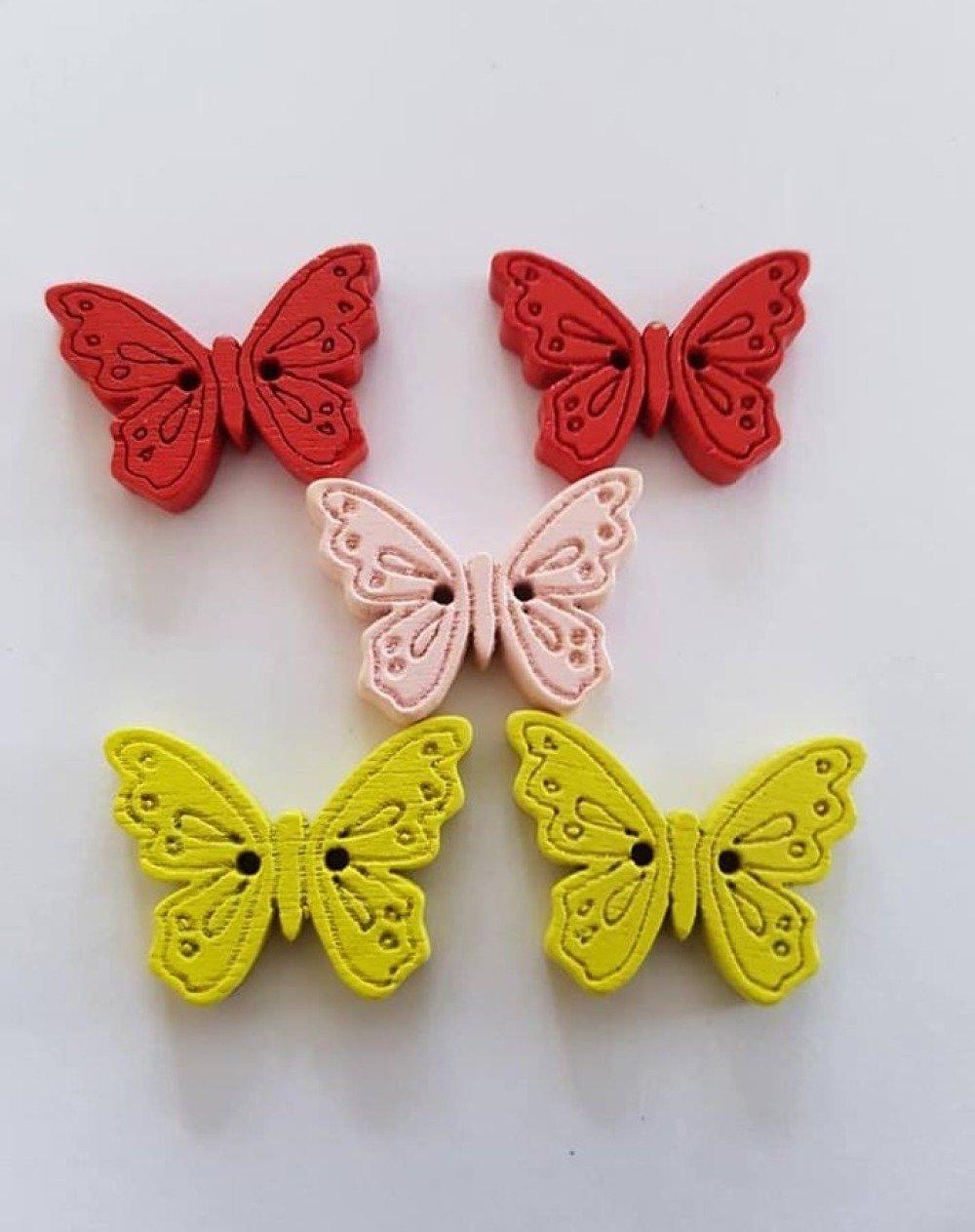 5 boutons papillon en bois