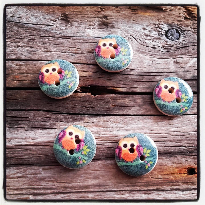 lot de 5 boutons bois hibou / chouette en bois 15 mm