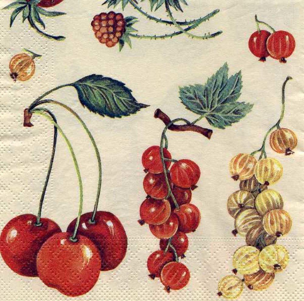 Serviette papier fruits d'été, cerises, groseilles