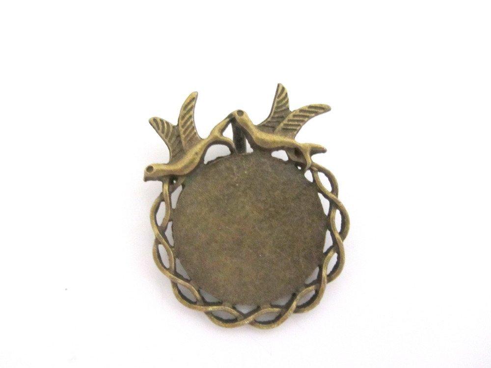Un support cabochon, pendentif, bronze pour cabochon 25mm