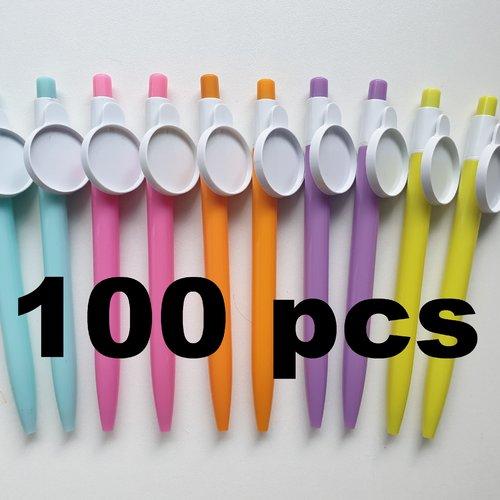 Lot de 100 stylos avec support cabochon 25mm