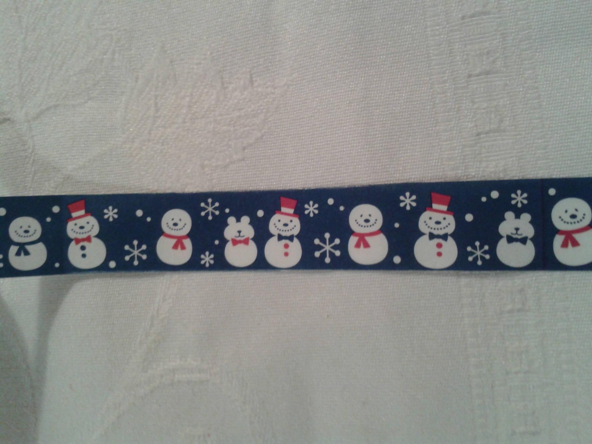 masking tape,scrap,  bonhommes de neige,sur fond fleu et ours
