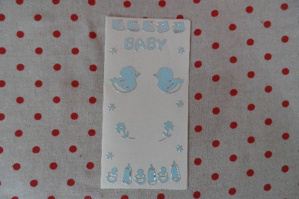 1 plaque de 106 stickers gommettes  décalcomanies autocollantes embellissements motifs baptéme enfant garçon