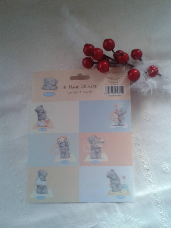 6 étiquettes,collection ME TO YOU petit ours gris nez bleu autocollantes, stickers,tags , die cut pour embellir vos