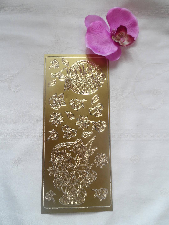 1 lot de19 autocollants dorés représentant des fleurs, paniers, noeuds dorés mariage baptême fête