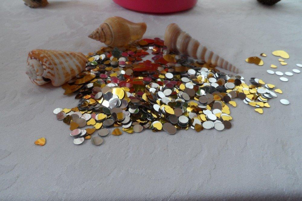 confettis cœur or et rond argent pour déco de table, loisirs créatifs paillettes déco, sequins,