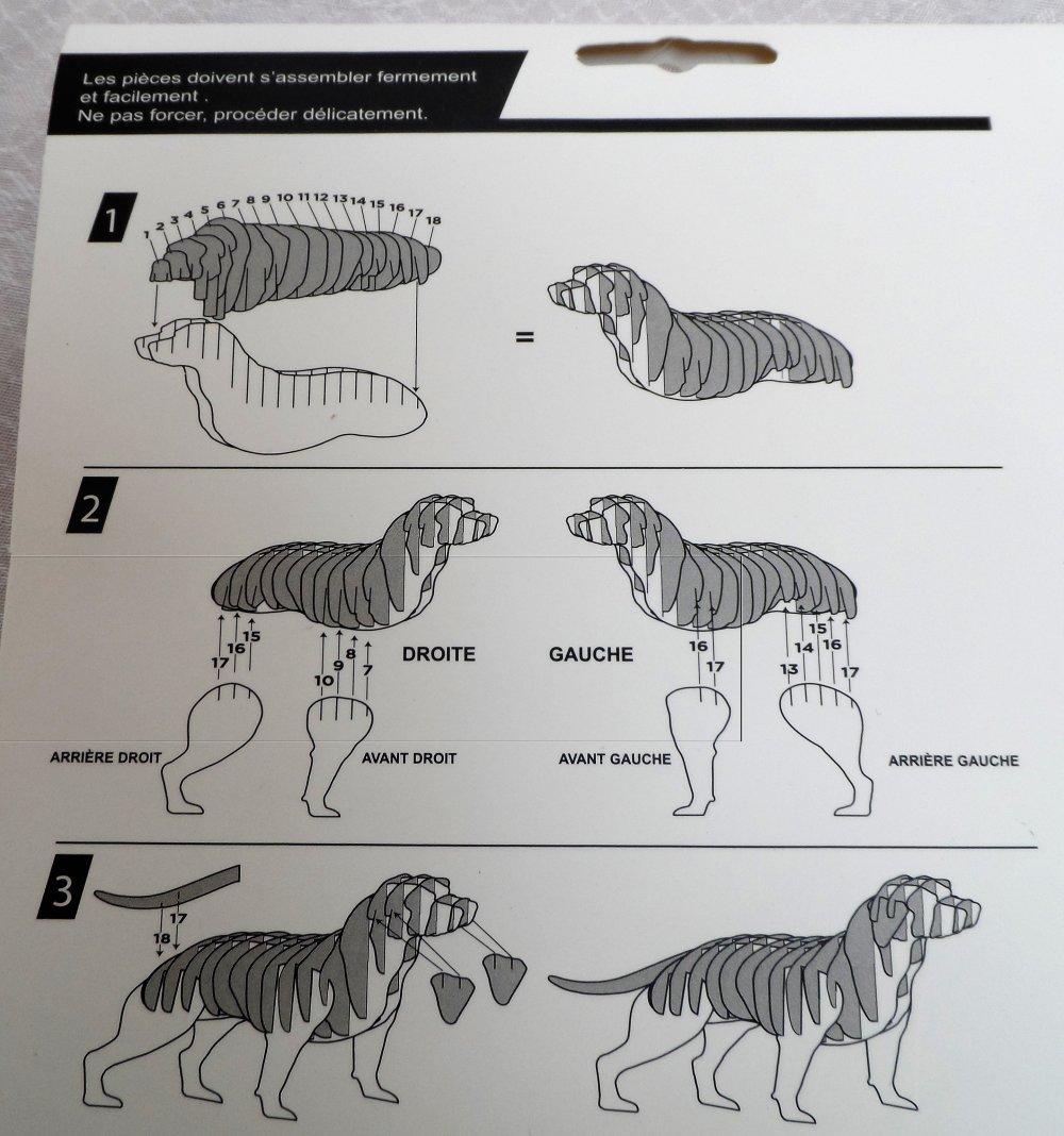 chien, trophées en carton naturel à assembler comme un puzzle, 3D