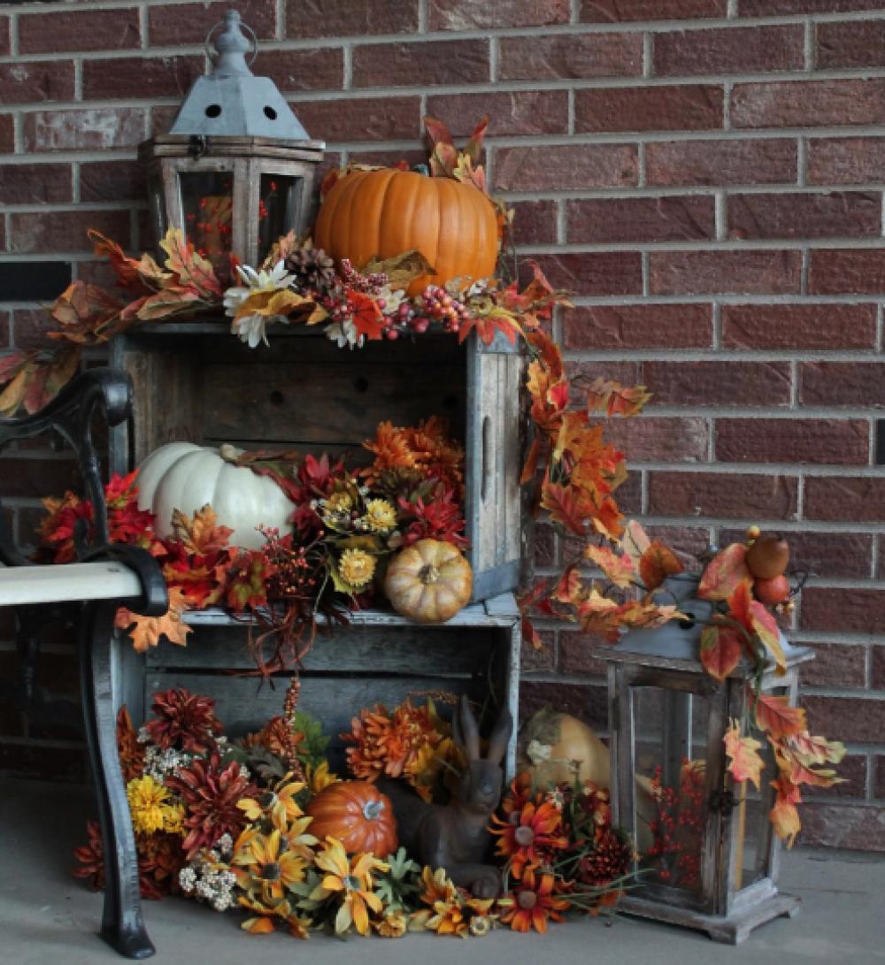 décoration automne : guirlande de feuilles d'érable,  pour Halloween, couronne,