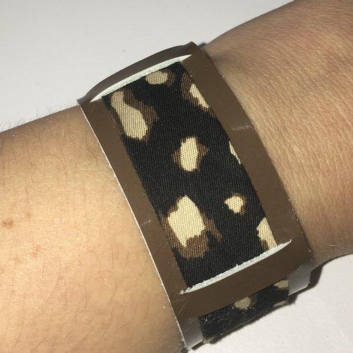 Bracelet cuir vernis marron et biais imprimé animal
